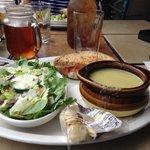 Door County Melt, salad & asparagus soup