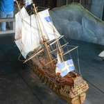Scale model of the warship Vasa at the moment she began to sink in 1628.