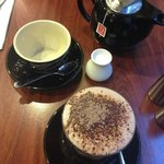 Hot chocolate and a pot of tea... love the little milk jug