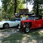 cliff mcadoo with his corvette & 1932 ford roadster