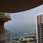 View from hotel room looking at ocean