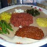 veggie combo and kitfo
