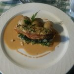Loin of Wester Ross Salmon, Fresh Crab Crust, Charlotte Potatoes, Wilted Greens & Prawn Bisque