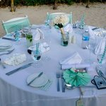 The dinner table setups during our wedding reception on the beach-- we did most of it ourselves