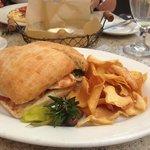 Chicken Pesto Sandwich with fresh mozzarella and sweet potato chips