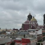 view of Puebla cathedral from the rooftop terrace