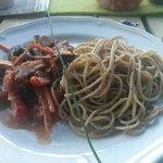 Spaghetti mit Cocktailtomaten und frischen Pilzen!