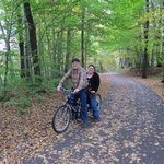 "Us on a ""Bicycle-built-for-two"" on the Stowe Rec Path"