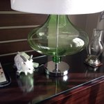 Bed side table. If you have turn down service they fill the water decanter with ice water. Very