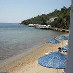 """plage devant le restaurant du midi, avec ponton """"quiet zone"""" au fond"""