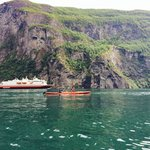 Hurtigruten in the background