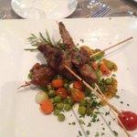 Lamb kebabs in Moroccan restaurant