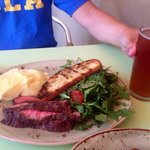 Steak salad with a refreshing IPA.