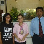 Hotel's Front desk staff along with my wife