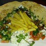 pork souvlaki with chips and tzatziki