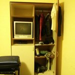 small tv and closet