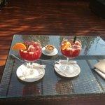 Generous glasses of Sangria at the bar