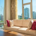 Living Room in our Queen Suites with views of BC Place