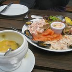 Seafood platter, preceded by great chowder