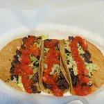 Steak tacos with Salsa Roja