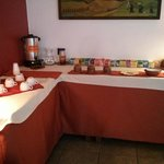 Selection of Teas, Hot water and Coca Leaves in Communal Living room