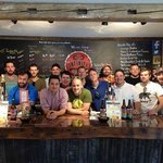 Infinity Brewery let us all behind the bar for a picture!