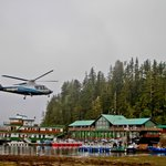 Arriving at Langara Fishing Lodge via charter helicopter