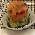 Salmon terrine with asparagus, egg and parsley