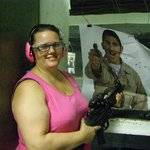 My wife at the Gun Store