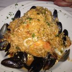 Mussels and shrimp risotto - red sauce version