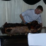 Evening hog roast in the marquee