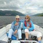 Enjoying some delicious 'fizz' on boat trip on Loch Lochy