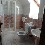 Nice sized bathroom with skylight