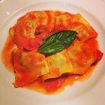 3 meat ravioli with pomodoro and basil