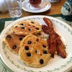 yummy blueberry pancakes and bacon