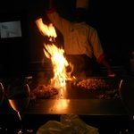 Our Cook at Hibachi - cooking steak, shrimp and chicken