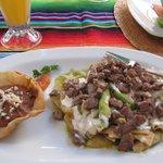 Green Chilaquiles w/ delicious steak...