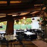 Restaurant, terrasse verte et ombragée