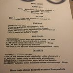 The menu as of July 2014