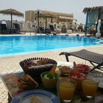 pool area and breakfast