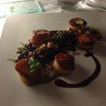 Scallops in a mushroom beef reduction