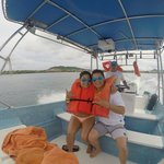 My friend and her dad in the speed boat that we got instead of an overpriced tour.