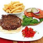 100% pure beef burger and handcut chips