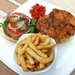 Juicy chicken burger and handcut chips