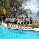 Ten of us by The Meridian pool.