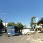 The combi mini bus (blue one) at the bus stop on Bl. Skanderbeg