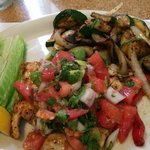 Grouper baja style w/grilled veggies.