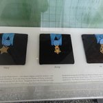 Medals of honor on display.