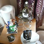 The complimentary drinks etc