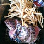 Steak frites cooked medium rare
